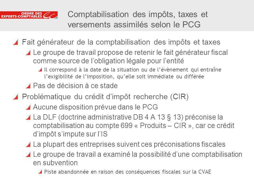 20 Comptabilisation des impôts, taxes et versements assimilés selon le PCG Fait générateur de la comptabilisation des impôts et taxes Le groupe de tra