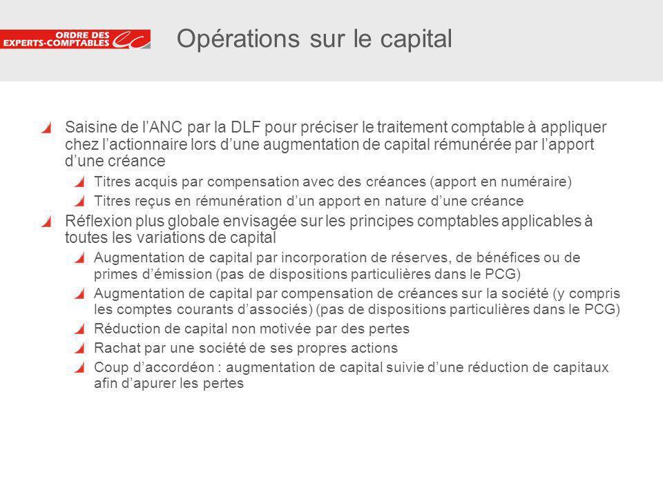 21 Opérations sur le capital Saisine de lANC par la DLF pour préciser le traitement comptable à appliquer chez lactionnaire lors dune augmentation de