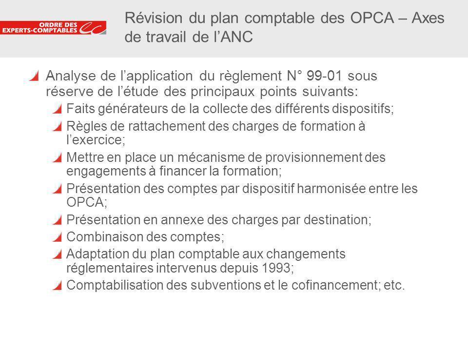 23 Révision du plan comptable des OPCA – Axes de travail de lANC Analyse de lapplication du règlement N° 99-01 sous réserve de létude des principaux p