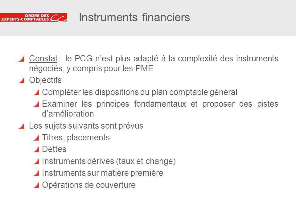 24 Instruments financiers Constat : le PCG nest plus adapté à la complexité des instruments négociés, y compris pour les PME Objectifs Compléter les d