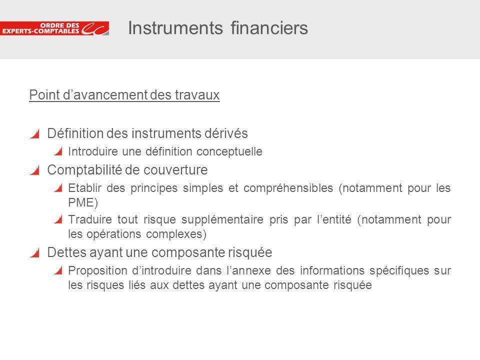 25 Instruments financiers Point davancement des travaux Définition des instruments dérivés Introduire une définition conceptuelle Comptabilité de couv