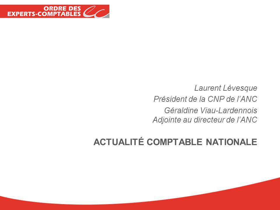 ACTUALITÉ COMPTABLE NATIONALE Laurent Lévesque Président de la CNP de lANC Géraldine Viau-Lardennois Adjointe au directeur de lANC