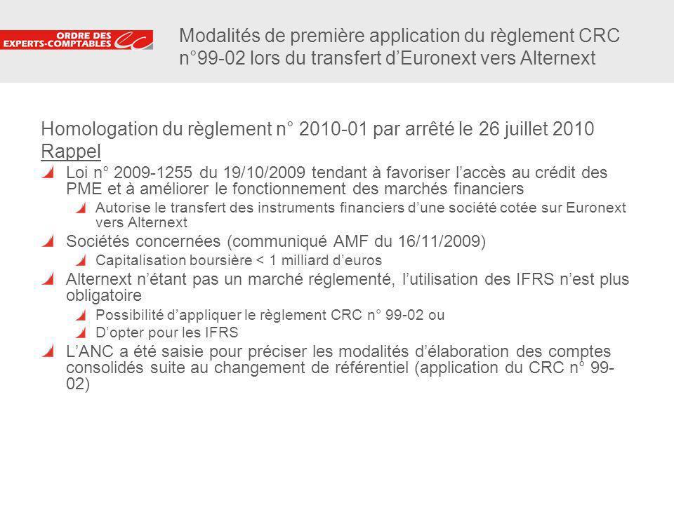5 Modalités de première application du règlement CRC n°99-02 lors du transfert dEuronext vers Alternext Homologation du règlement n° 2010-01 par arrêt