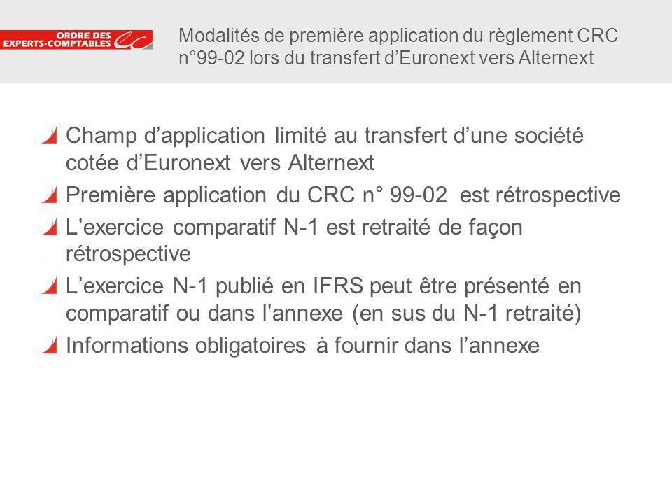6 Modalités de première application du règlement CRC n°99-02 lors du transfert dEuronext vers Alternext Champ dapplication limité au transfert dune so