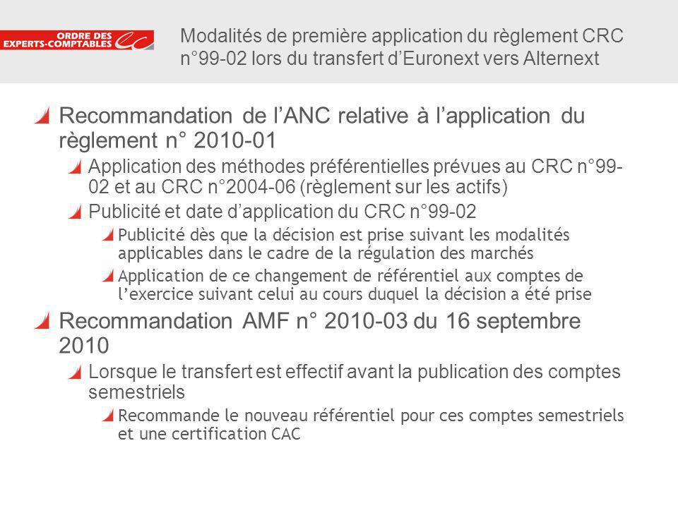 7 Modalités de première application du règlement CRC n°99-02 lors du transfert dEuronext vers Alternext Recommandation de lANC relative à lapplication