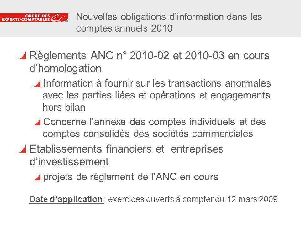 8 Nouvelles obligations dinformation dans les comptes annuels 2010 Règlements ANC n° 2010-02 et 2010-03 en cours dhomologation Information à fournir s
