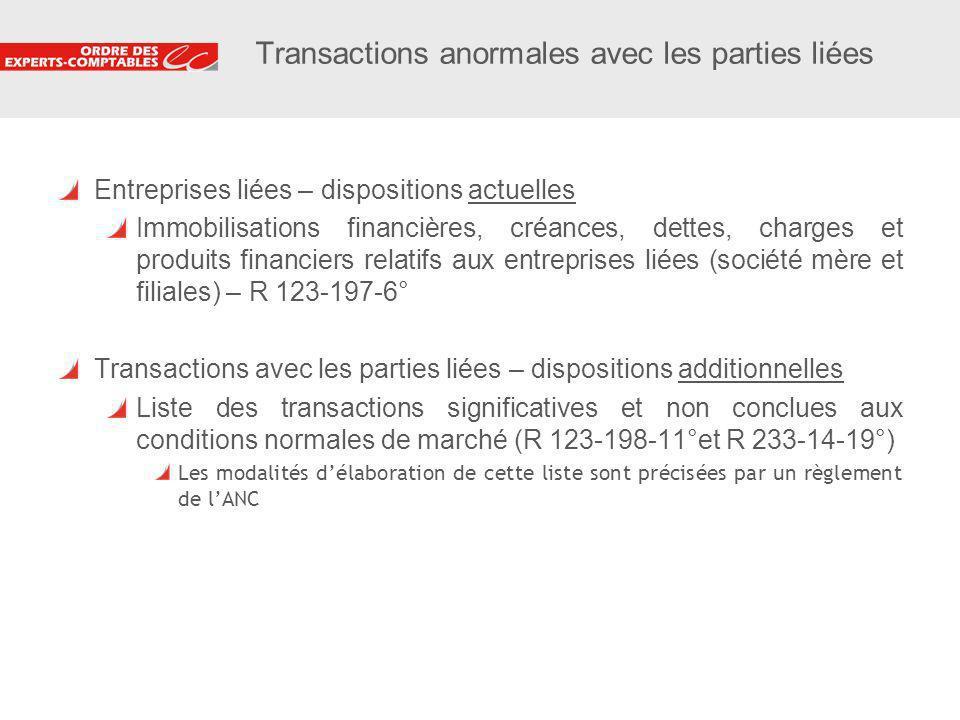 9 Transactions anormales avec les parties liées Entreprises liées – dispositions actuelles Immobilisations financières, créances, dettes, charges et p