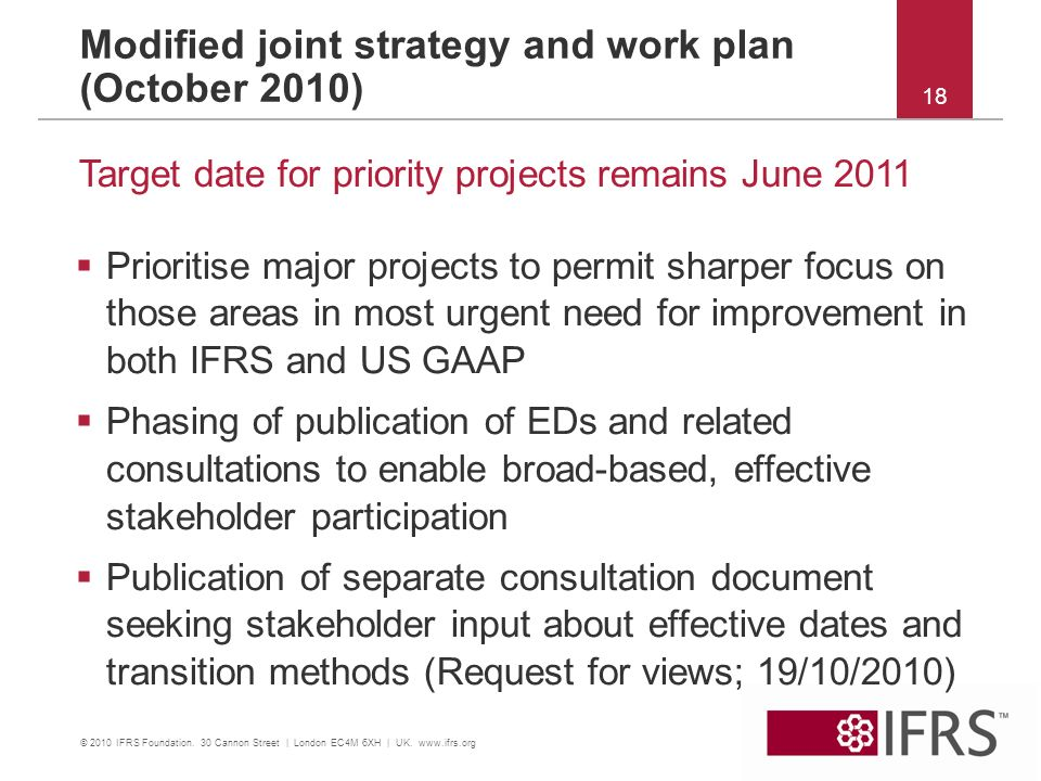 18 Modified joint strategy and work plan (October 2010) Prioritise major projects to permit sharper focus on those areas in most urgent need for improvement in both IFRS and US GAAP Phasing of publication of EDs and related consultations to enable broad-based, effective stakeholder participation Publication of separate consultation document seeking stakeholder input about effective dates and transition methods (Request for views; 19/10/2010) Target date for priority projects remains June 2011 © 2010 IFRS Foundation.