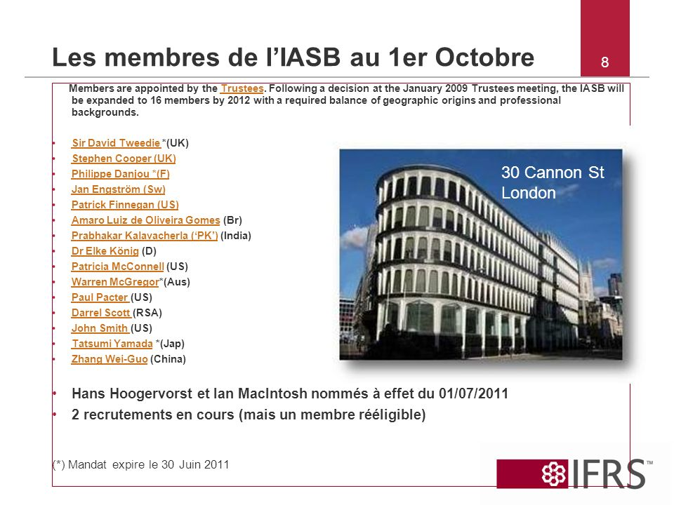 8 Les membres de lIASB au 1er Octobre Members are appointed by the Trustees.