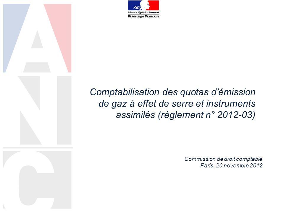 Comptabilisation des quotas démission de gaz à effet de serre et instruments assimilés (règlement n° 2012-03) Commission de droit comptable Paris, 20