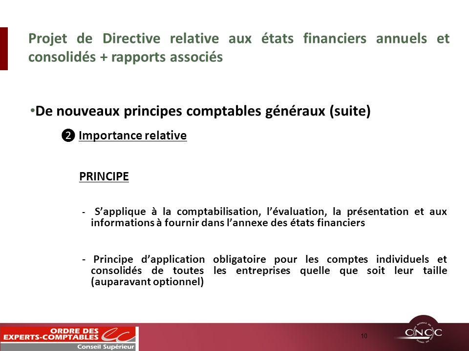 De nouveaux principes comptables généraux (suite) Importance relative PRINCIPE - Sapplique à la comptabilisation, lévaluation, la présentation et aux