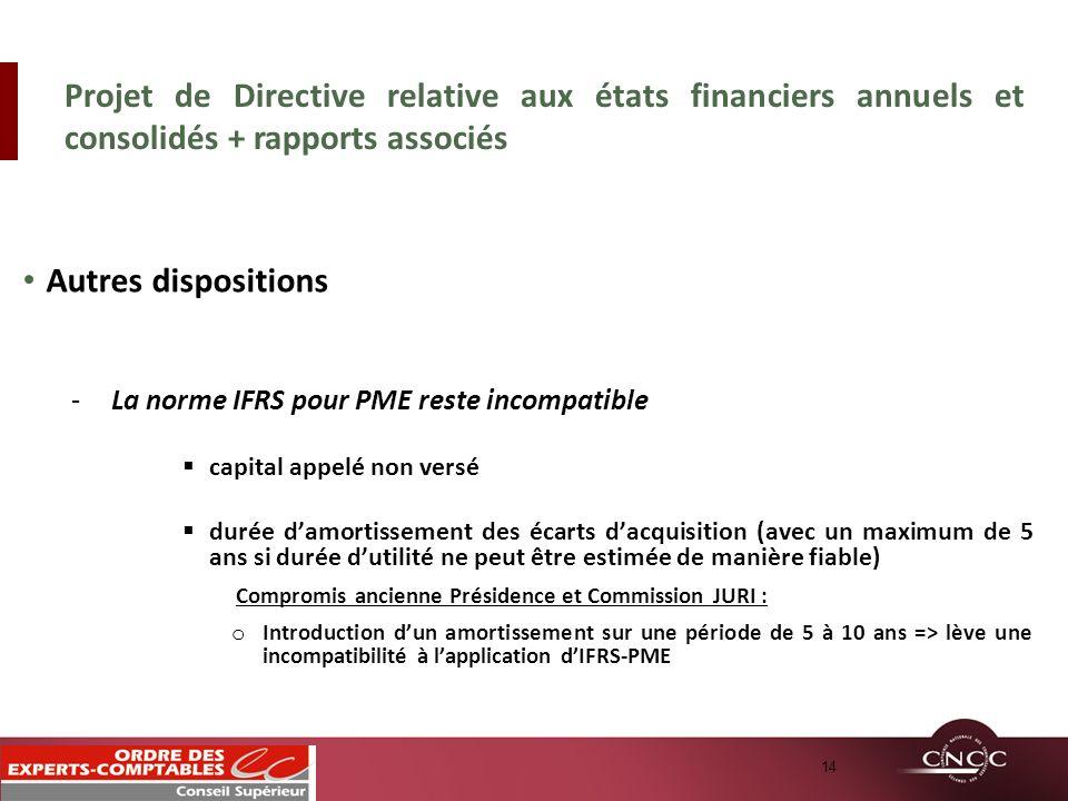 Autres dispositions -La norme IFRS pour PME reste incompatible capital appelé non versé durée damortissement des écarts dacquisition (avec un maximum