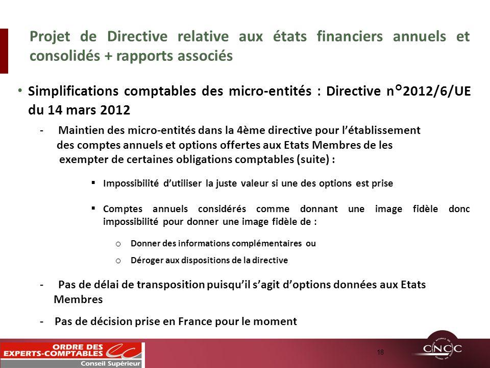 Simplifications comptables des micro-entités : Directive n°2012/6/UE du 14 mars 2012 -Maintien des micro-entités dans la 4ème directive pour létabliss