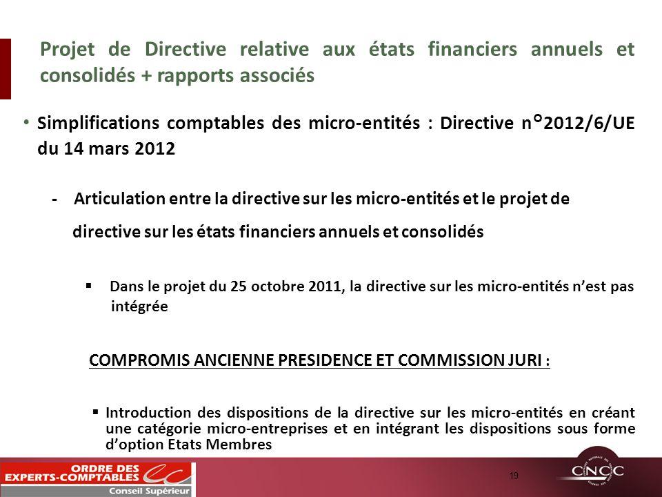 Simplifications comptables des micro-entités : Directive n°2012/6/UE du 14 mars 2012 - Articulation entre la directive sur les micro-entités et le pro