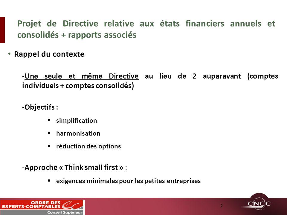 Rappel du contexte -Une seule et même Directive au lieu de 2 auparavant (comptes individuels + comptes consolidés) -Objectifs : simplification harmoni