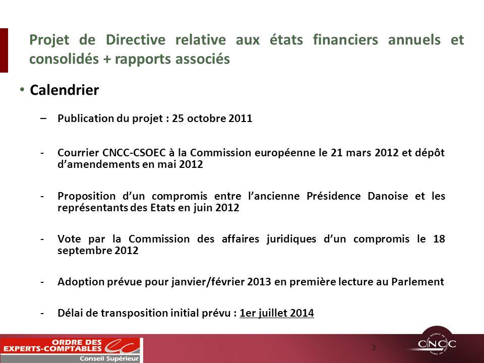 Calendrier –Publication du projet : 25 octobre 2011 -Courrier CNCC-CSOEC à la Commission européenne le 21 mars 2012 et dépôt damendements en mai 2012