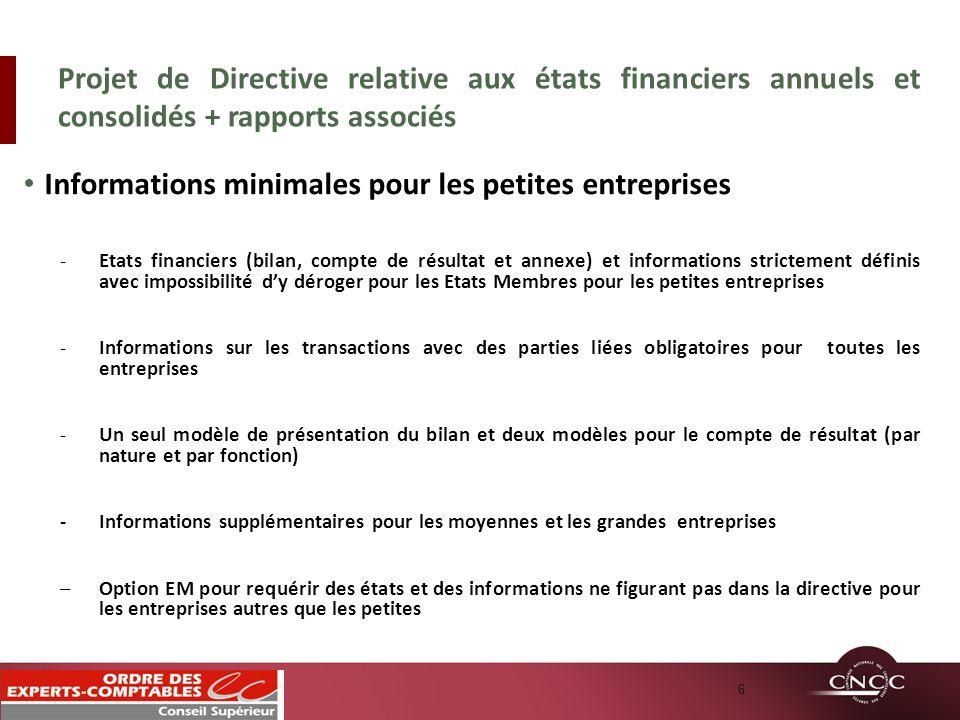 Informations minimales pour les petites entreprises -Etats financiers (bilan, compte de résultat et annexe) et informations strictement définis avec i
