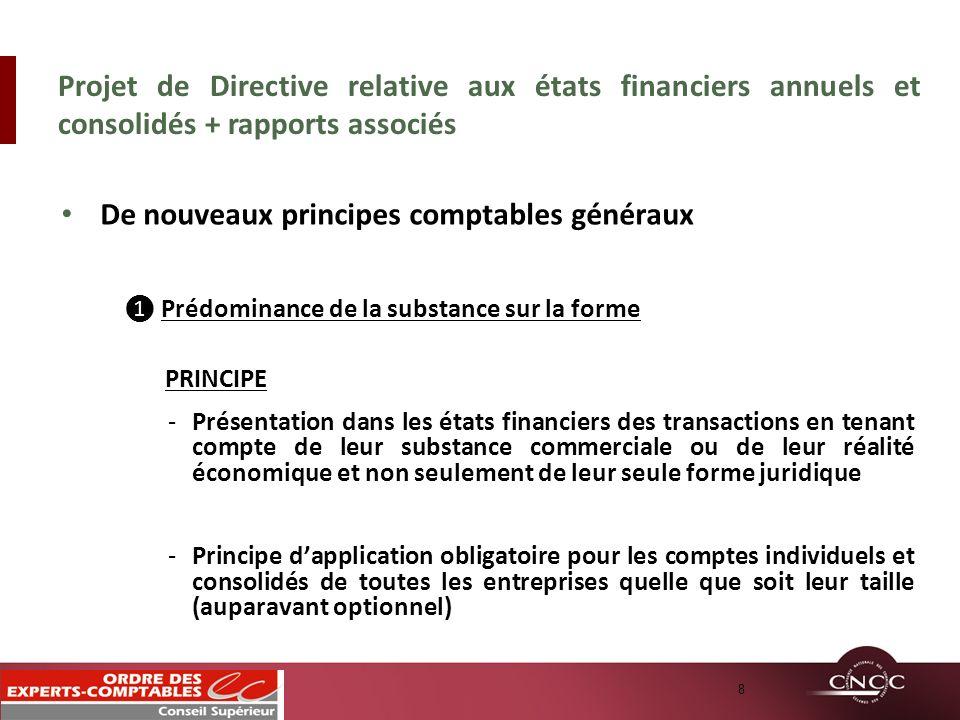 De nouveaux principes comptables généraux Prédominance de la substance sur la forme PRINCIPE -Présentation dans les états financiers des transactions