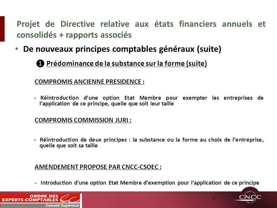 De nouveaux principes comptables généraux (suite) Prédominance de la substance sur la forme (suite) COMPROMIS ANCIENNE PRESIDENCE : - Réintroduction d
