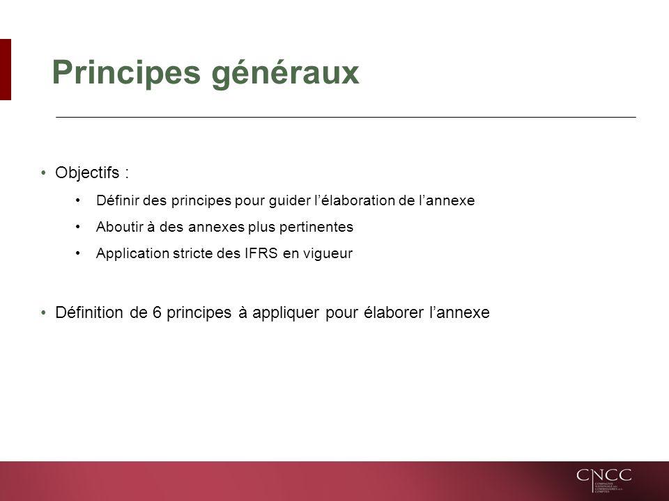 Principes généraux Objectifs : Définir des principes pour guider lélaboration de lannexe Aboutir à des annexes plus pertinentes Application stricte des IFRS en vigueur Définition de 6 principes à appliquer pour élaborer lannexe