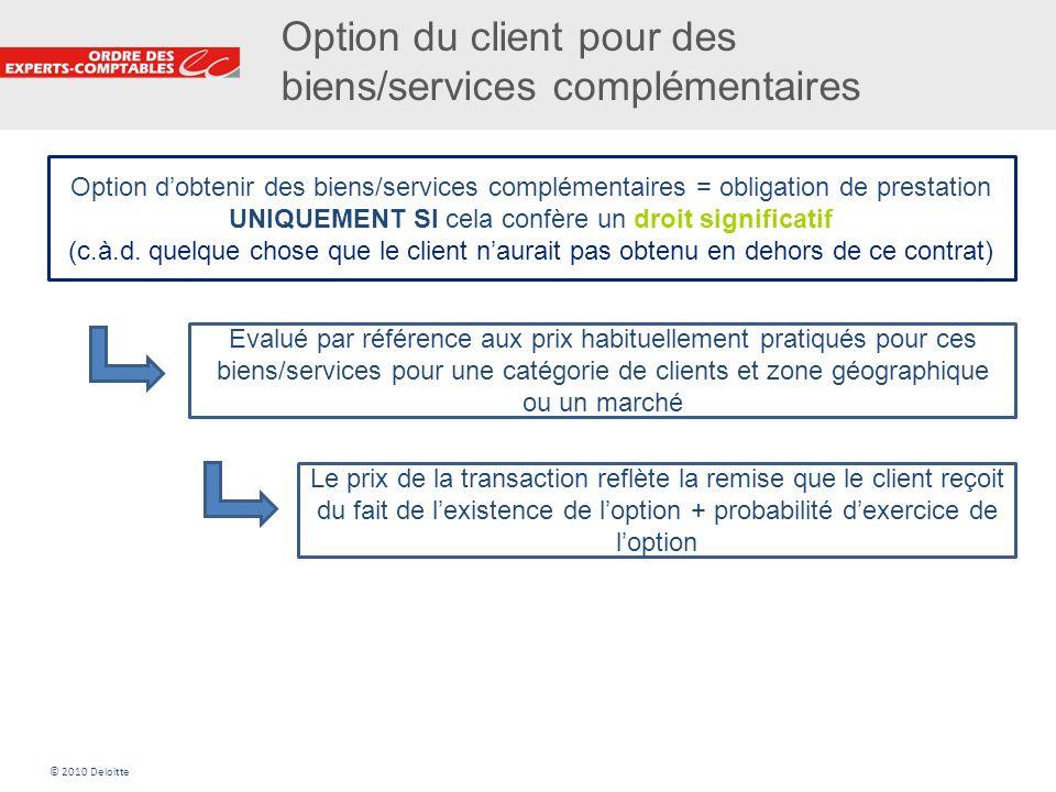 12 Option du client pour des biens/services complémentaires Option dobtenir des biens/services complémentaires = obligation de prestation UNIQUEMENT S