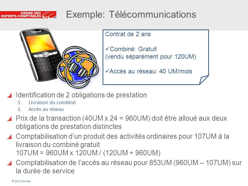 19 Exemple: Télécommunications Contrat de 2 ans Combiné: Gratuit (vendu séparément pour 120UM) Accès au réseau: 40 UM/mois Identification de 2 obligat