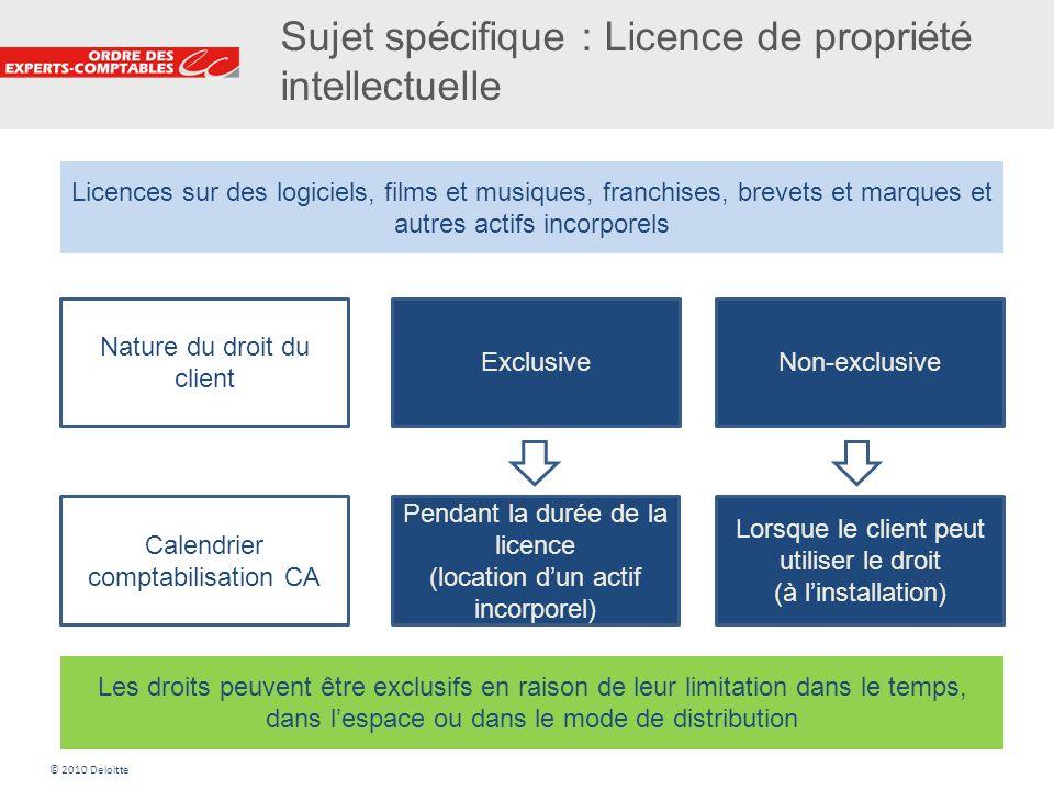 25 Sujet spécifique : Licence de propriété intellectuelle Licences sur des logiciels, films et musiques, franchises, brevets et marques et autres acti