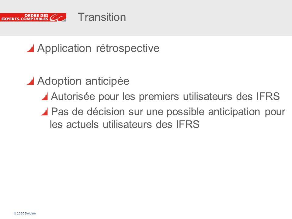 29 Transition Application rétrospective Adoption anticipée Autorisée pour les premiers utilisateurs des IFRS Pas de décision sur une possible anticipa