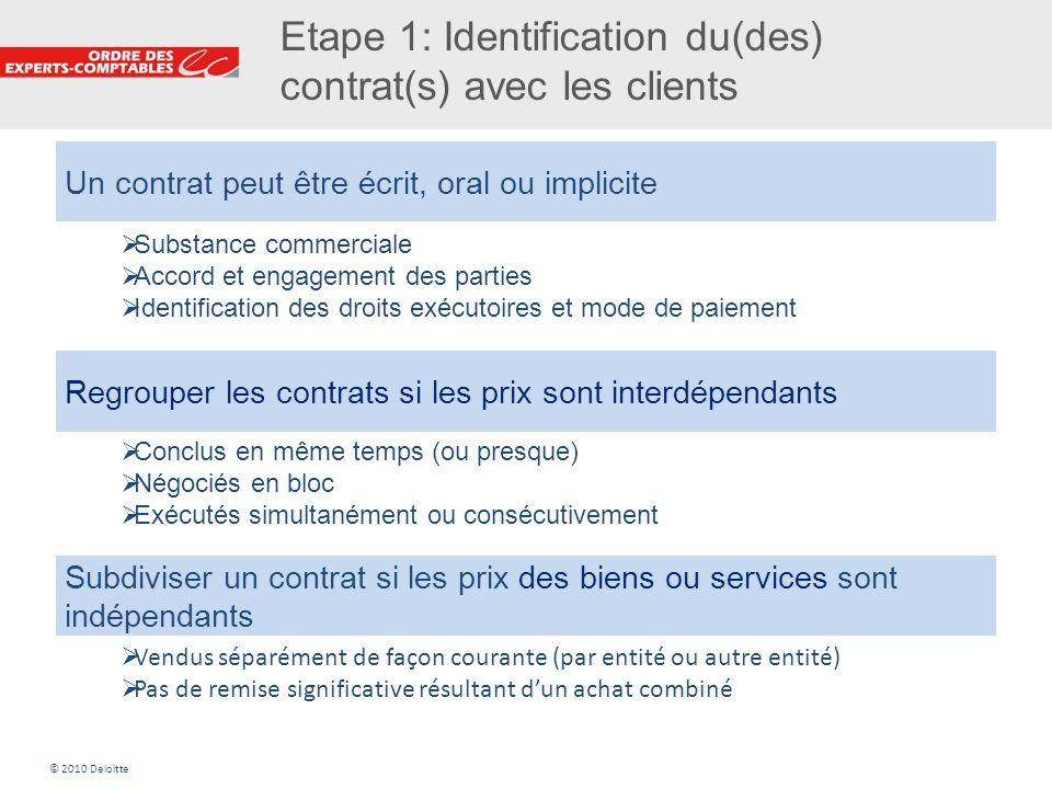 9 Etape 1: Identification du(des) contrat(s) avec les clients Un contrat peut être écrit, oral ou implicite Regrouper les contrats si les prix sont in