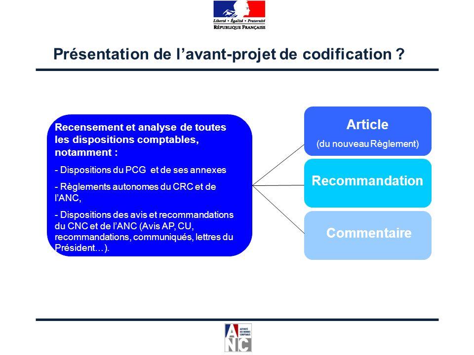 Présentation de lavant-projet de codification ? Recensement et analyse de toutes les dispositions comptables, notamment : - Dispositions du PCG et de