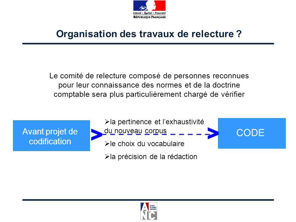 la pertinence et lexhaustivité du nouveau corpus le choix du vocabulaire la précision de la rédaction Organisation des travaux de relecture ? Avant pr