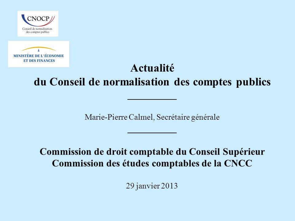 Actualité du Conseil de normalisation des comptes publics __________ Marie-Pierre Calmel, Secrétaire générale __________ Commission de droit comptable