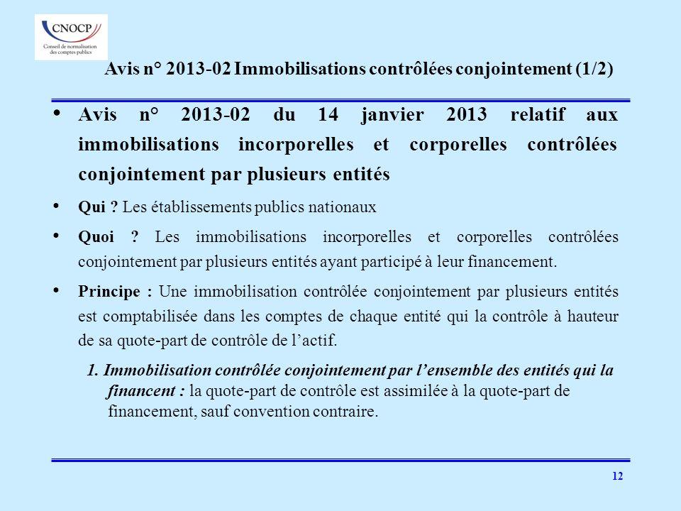12 Avis n° 2013-02 du 14 janvier 2013 relatif aux immobilisations incorporelles et corporelles contrôlées conjointement par plusieurs entités Qui ? Le
