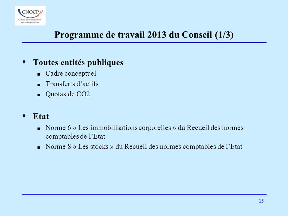 15 Programme de travail 2013 du Conseil (1/3) Toutes entités publiques Cadre conceptuel Transferts dactifs Quotas de CO2 Etat Norme 6 « Les immobilisa