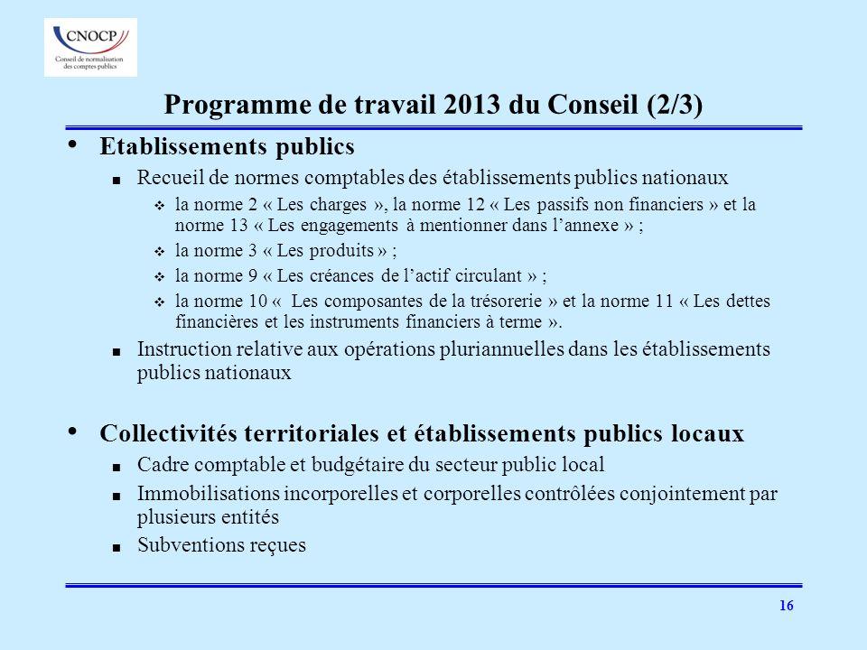 16 Programme de travail 2013 du Conseil (2/3) Etablissements publics Recueil de normes comptables des établissements publics nationaux la norme 2 « Le