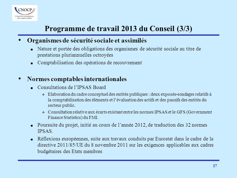 17 Programme de travail 2013 du Conseil (3/3) Organismes de sécurité sociale et assimilés Nature et portée des obligations des organismes de sécurité