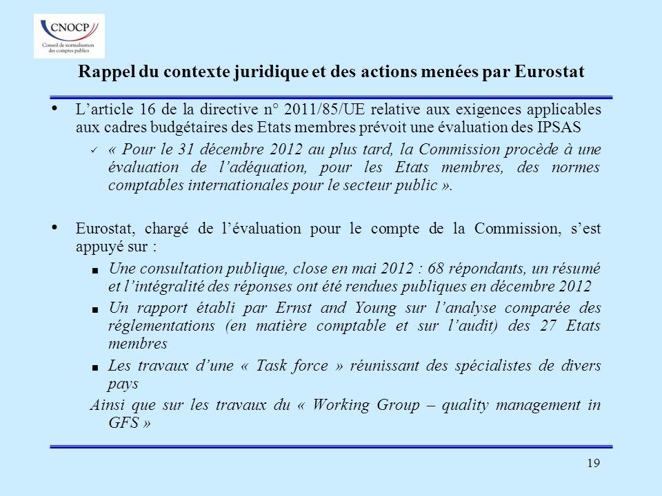 19 Rappel du contexte juridique et des actions menées par Eurostat Larticle 16 de la directive n° 2011/85/UE relative aux exigences applicables aux ca