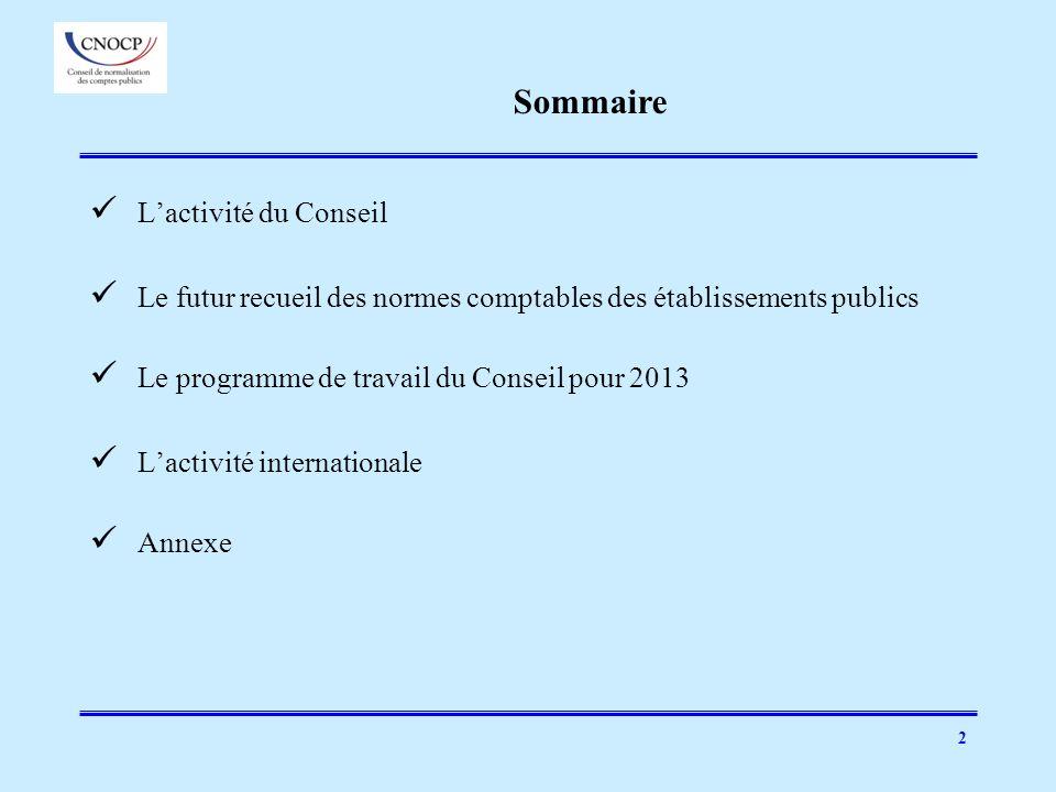 2 Lactivité du Conseil Le futur recueil des normes comptables des établissements publics Le programme de travail du Conseil pour 2013 Lactivité intern