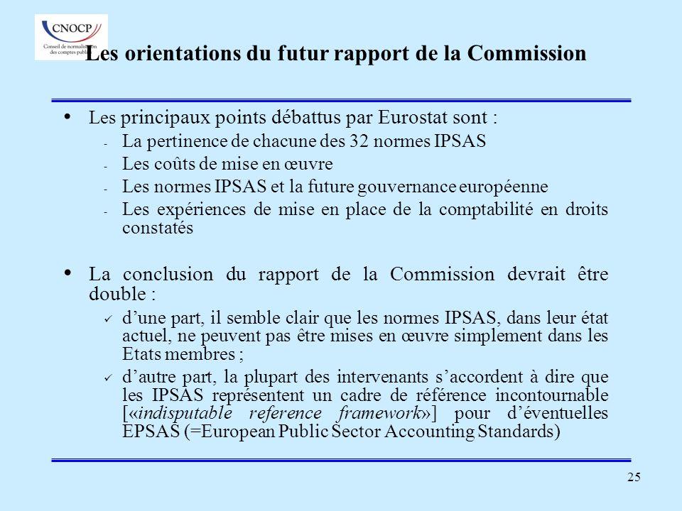 25 Les orientations du futur rapport de la Commission Les principaux points débattus par Eurostat sont : - La pertinence de chacune des 32 normes IPSA