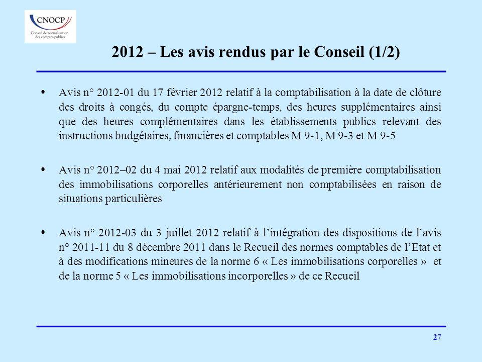 27 2012 – Les avis rendus par le Conseil (1/2) Avis n° 2012-01 du 17 février 2012 relatif à la comptabilisation à la date de clôture des droits à cong