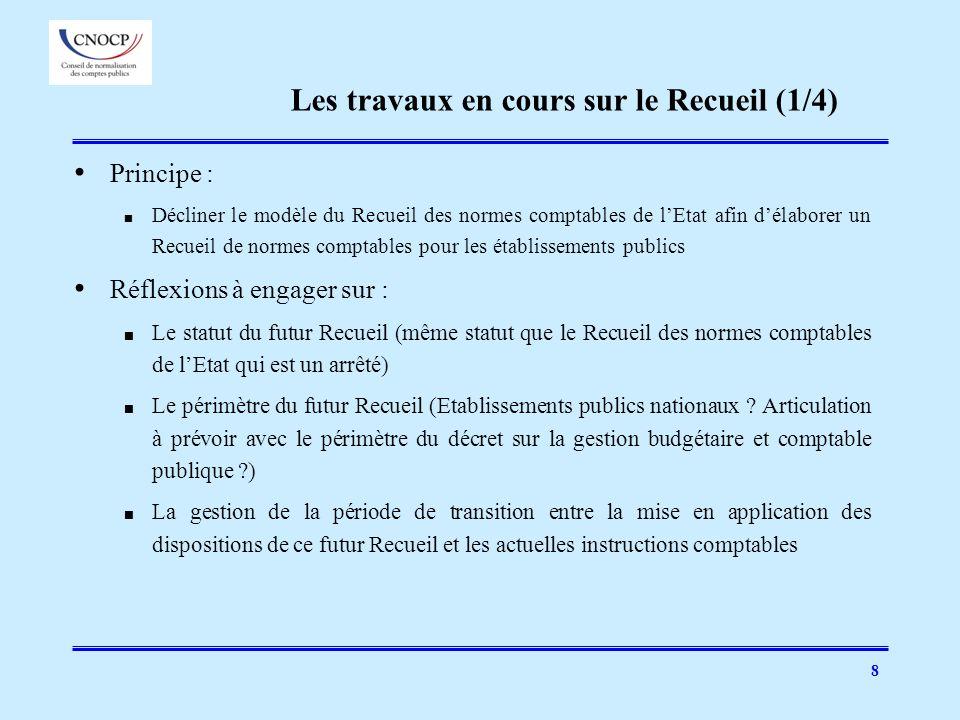 8 Principe : Décliner le modèle du Recueil des normes comptables de lEtat afin délaborer un Recueil de normes comptables pour les établissements publi