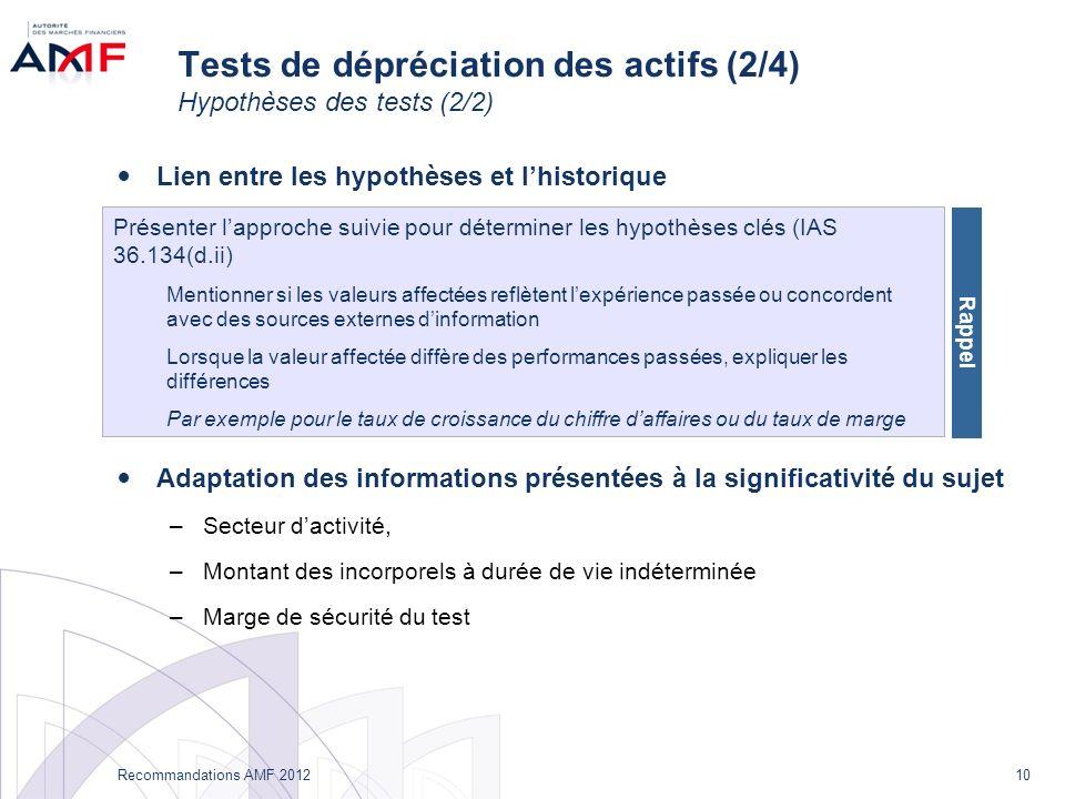 10 Recommandations AMF 2012 Tests de dépréciation des actifs (2/4) Hypothèses des tests (2/2) Lien entre les hypothèses et lhistorique Adaptation des informations présentées à la significativité du sujet –Secteur dactivité, –Montant des incorporels à durée de vie indéterminée –Marge de sécurité du test Présenter lapproche suivie pour déterminer les hypothèses clés (IAS 36.134(d.ii) Mentionner si les valeurs affectées reflètent lexpérience passée ou concordent avec des sources externes dinformation Lorsque la valeur affectée diffère des performances passées, expliquer les différences Par exemple pour le taux de croissance du chiffre daffaires ou du taux de marge Rappel