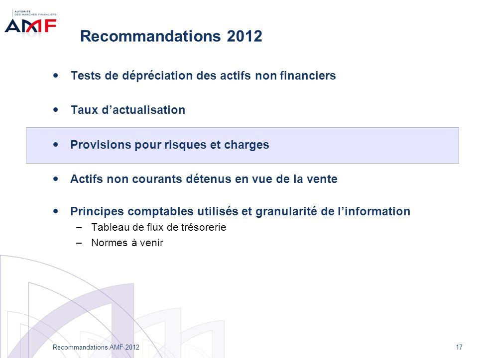 17 Recommandations AMF 2012 Recommandations 2012 Tests de dépréciation des actifs non financiers Taux dactualisation Provisions pour risques et charge