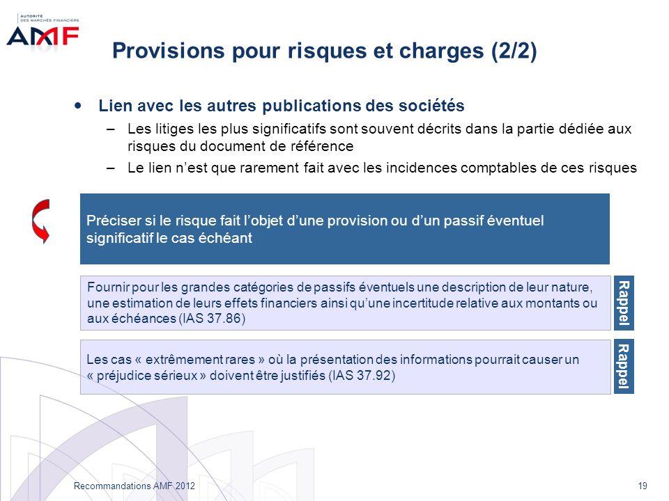 19 Recommandations AMF 2012 Provisions pour risques et charges (2/2) Lien avec les autres publications des sociétés –Les litiges les plus significatif