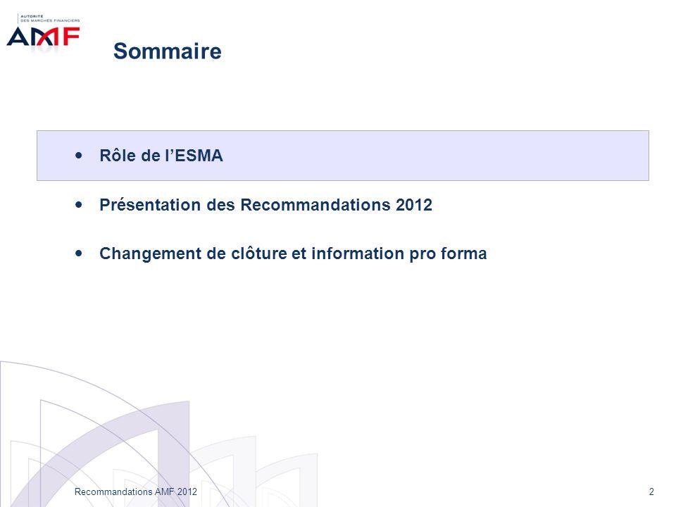 2 Recommandations AMF 2012 Sommaire Rôle de lESMA Présentation des Recommandations 2012 Changement de clôture et information pro forma