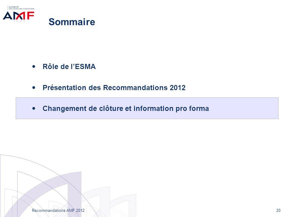 20 Recommandations AMF 2012 Sommaire Rôle de lESMA Présentation des Recommandations 2012 Changement de clôture et information pro forma