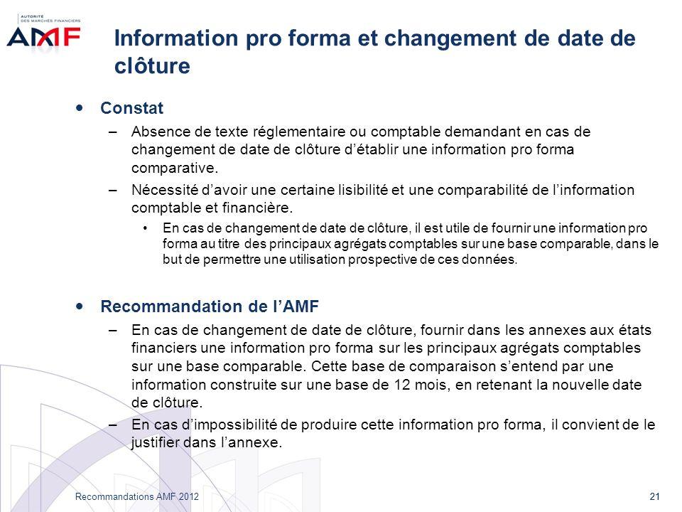 21 Recommandations AMF 2012 21 Information pro forma et changement de date de clôture Constat –Absence de texte réglementaire ou comptable demandant en cas de changement de date de clôture détablir une information pro forma comparative.