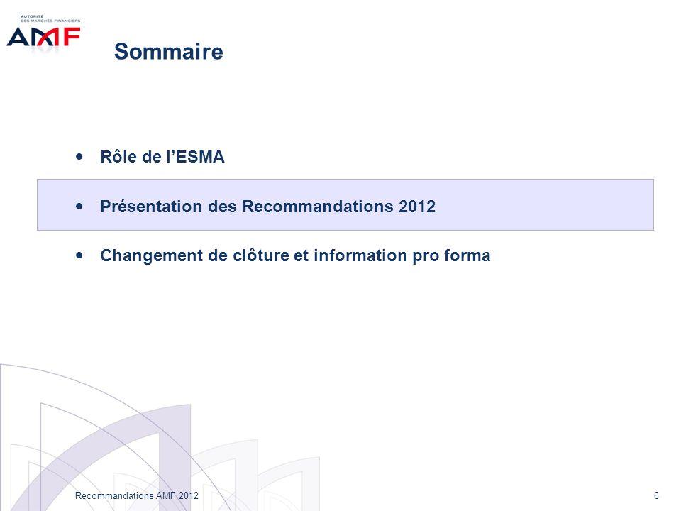 6 Recommandations AMF 2012 Sommaire Rôle de lESMA Présentation des Recommandations 2012 Changement de clôture et information pro forma