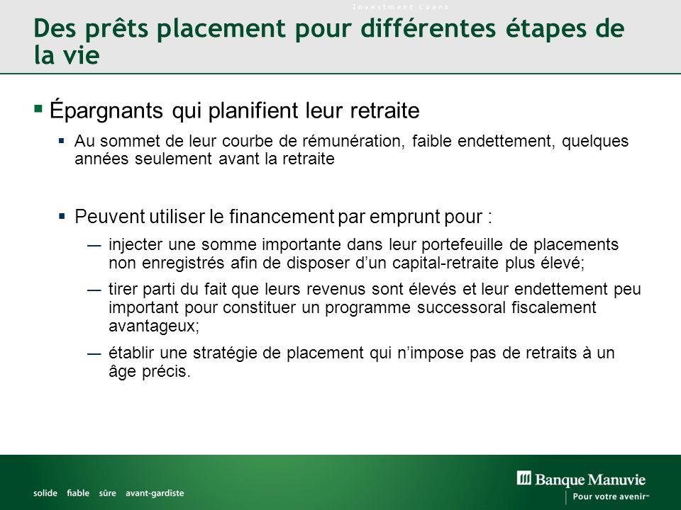 Des prêts placement pour différentes étapes de la vie Épargnants qui planifient leur retraite Au sommet de leur courbe de rémunération, faible endette