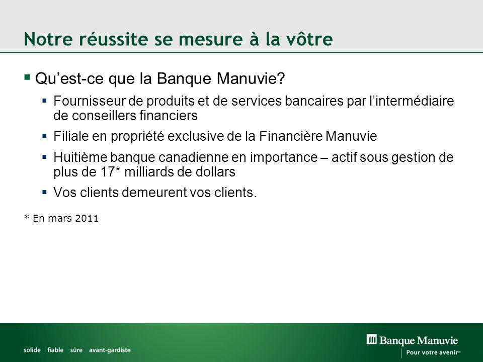 Notre réussite se mesure à la vôtre Quest-ce que la Banque Manuvie? Fournisseur de produits et de services bancaires par lintermédiaire de conseillers